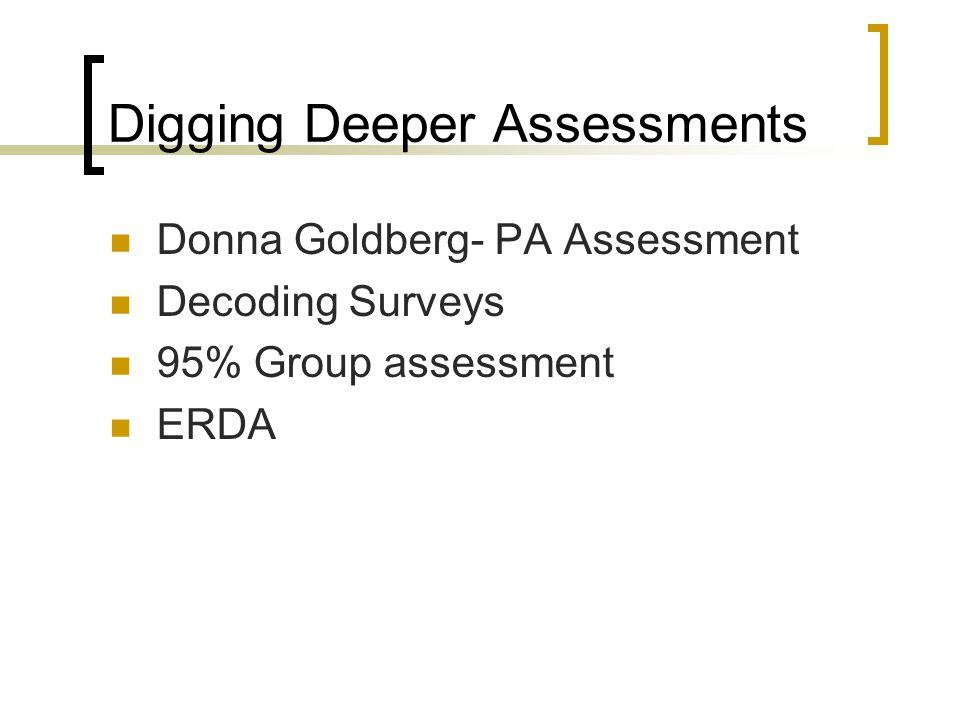Digging Deeper Assessments Donna Goldberg- PA Assessment Decoding Surveys 95% Group assessment ERDA