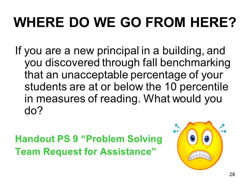 28 WHERE DO WE GO FROM HERE? If you are a new principal in a building, and you discovered through fall benchmarking that an unacceptable percentage of