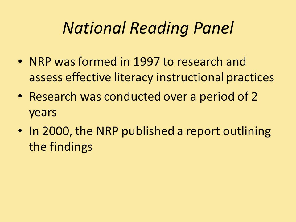 NRP Findings Concluded that there are five key components to an effective reading instruction program: Phonemic Awareness Phonics Fluency Vocabulary Comprehension