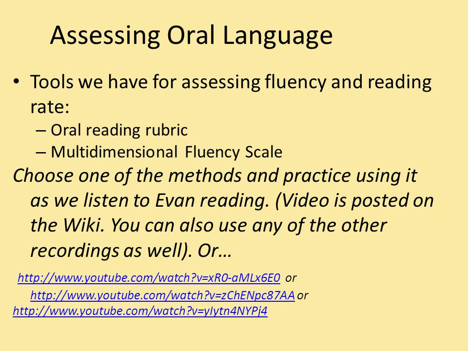 Oral Reading Rate Let's try it for Evan (See pkt page for instructions) 1.