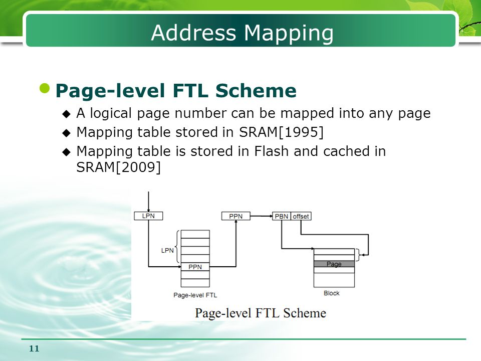 11 Address Mapping Page-level FTL Scheme  A logical page number can be mapped into any page  Mapping table stored in SRAM[1995]  Mapping table is s