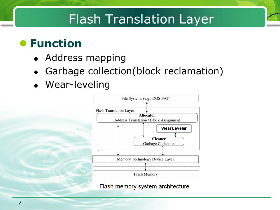8 Introduction Outline 1 Flash Translation Layer 2 Address Mapping 3 Wear Leveling 45 Conclusion