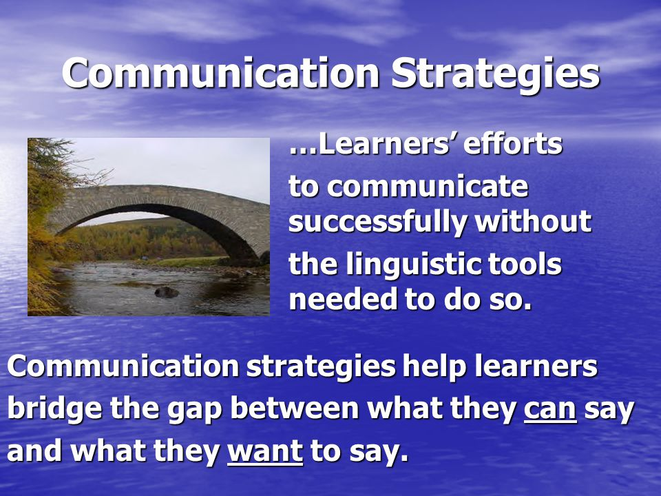Communication Strategies …Learners' efforts …Learners' efforts to communicate successfully without to communicate successfully without the linguistic tools needed to do so.