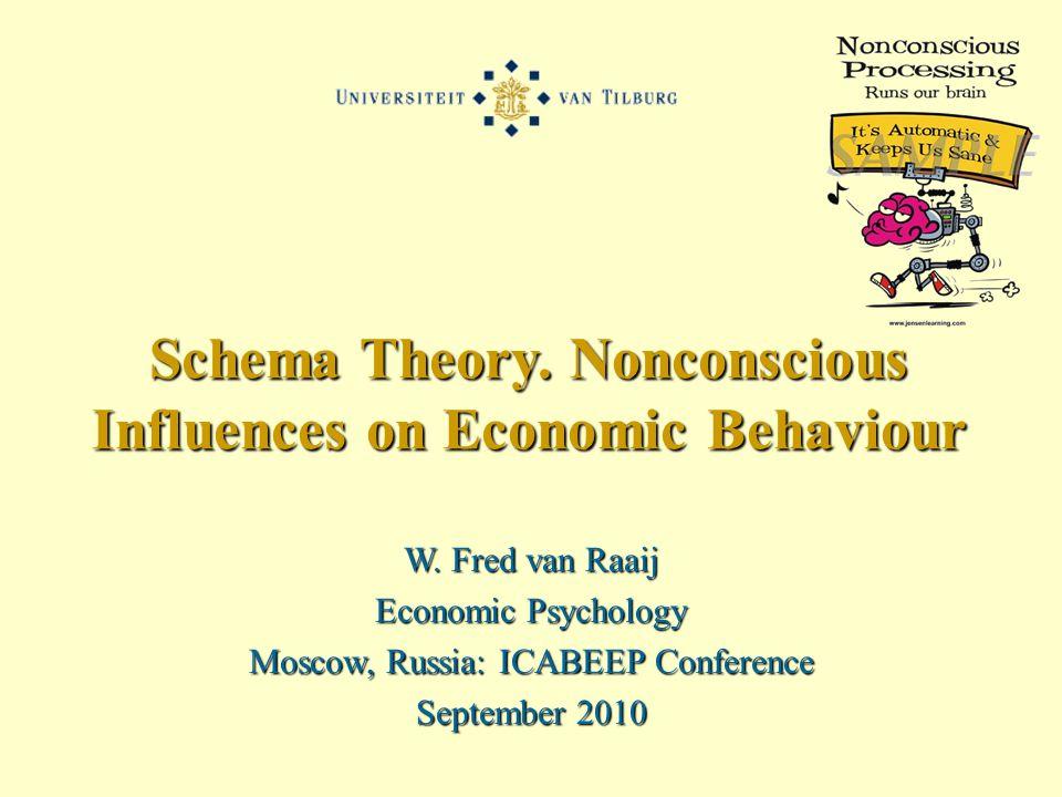 W. Fred van Raaij Economic Psychology Moscow, Russia: ICABEEP Conference September 2010 Schema Theory. Nonconscious Influences on Economic Behaviour