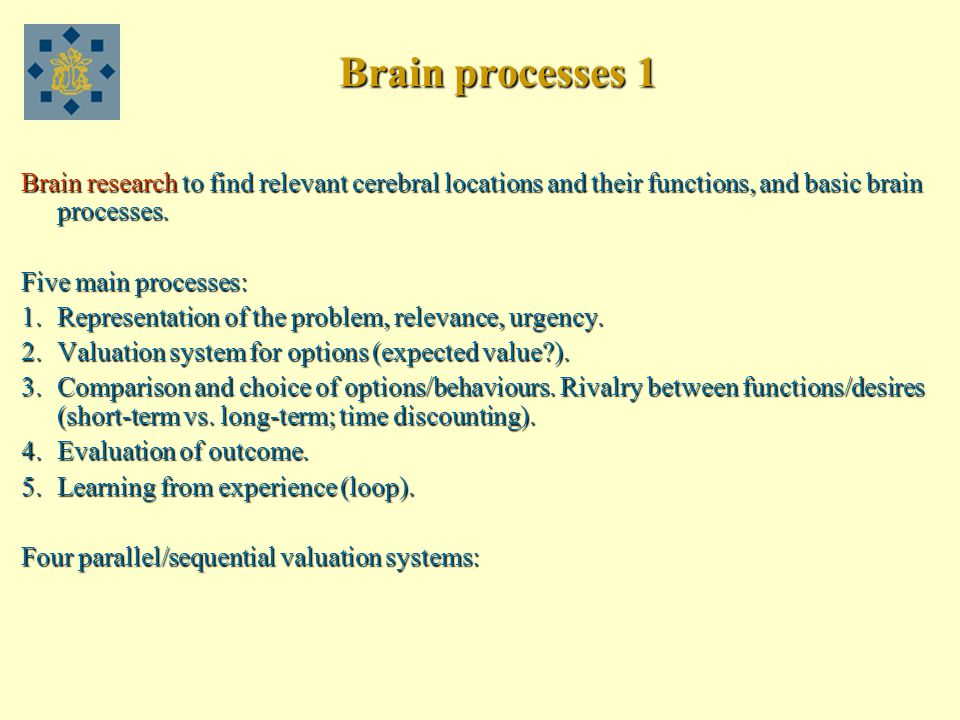 Brain processes 1 Brain research to find relevant cerebral locations and their functions, and basic brain processes.