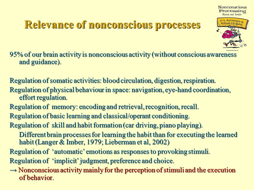 Relevance of nonconscious processes 95% of our brain activity is nonconscious activity (without conscious awareness and guidance).