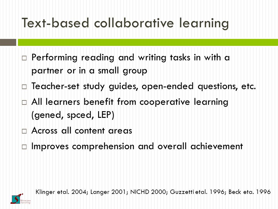 Motivation and self-directed learning  Provide choice in materials  Independent reading time at independent reading level  Student selection of research topics  Student selection of writing topics  Student-set literacy goals  Teacher feedback on goals and progress Cordova & Lepper; 1996; Reynolds & Symons 2001; Schunk 2003
