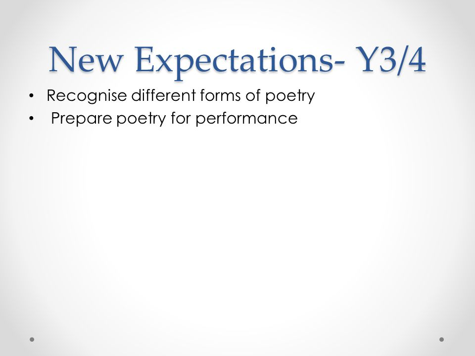 New Expectations- Y3/4 Recognise different forms of poetry Prepare poetry for performance
