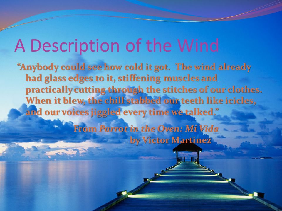 "A Description of the Wind ""Anybody could see how cold it got. The wind already had glass edges to it, stiffening muscles and practically cutting throu"