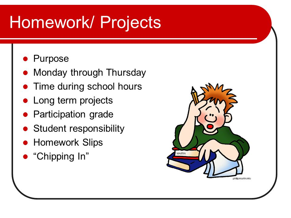 Homework/ Projects Purpose Monday through Thursday Time during school hours Long term projects Participation grade Student responsibility Homework Slips Chipping In