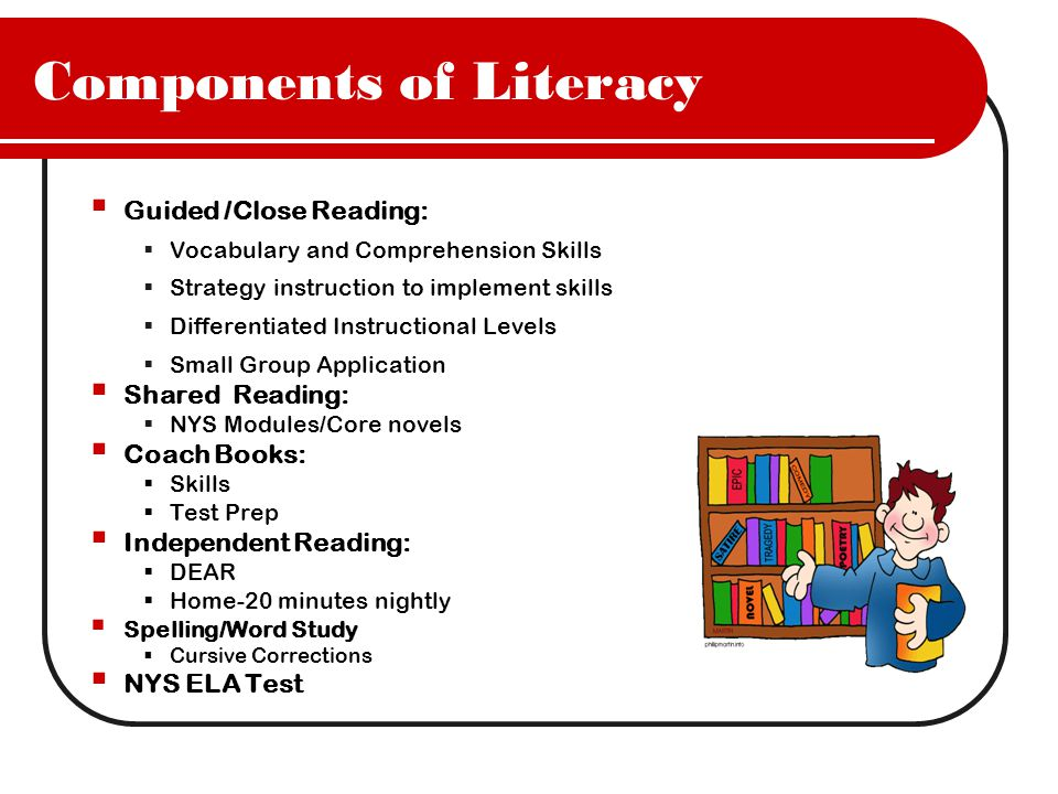 Components of Literacy  Guided /Close Reading:  Vocabulary and Comprehension Skills  Strategy instruction to implement skills  Differentiated Instructional Levels  Small Group Application  Shared Reading:  NYS Modules/Core novels  Coach Books:  Skills  Test Prep  Independent Reading:  DEAR  Home-20 minutes nightly  Spelling/Word Study  Cursive Corrections  NYS ELA Test