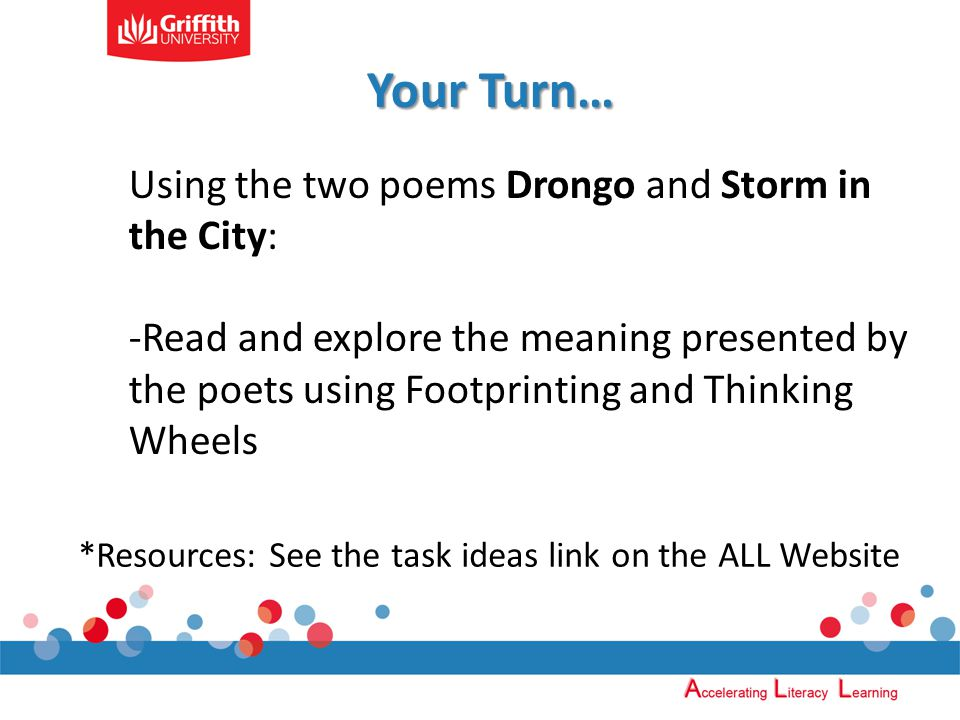 Using the two poems Drongo and Storm in the City: -Read and explore the meaning presented by the poets using Footprinting and Thinking Wheels *Resources: See the task ideas link on the ALL Website Your Turn…