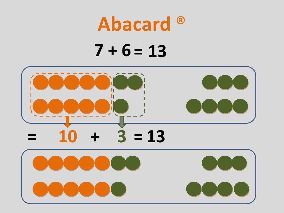 7 + 6 = 10 + 3 13 Abacard ® 13= =