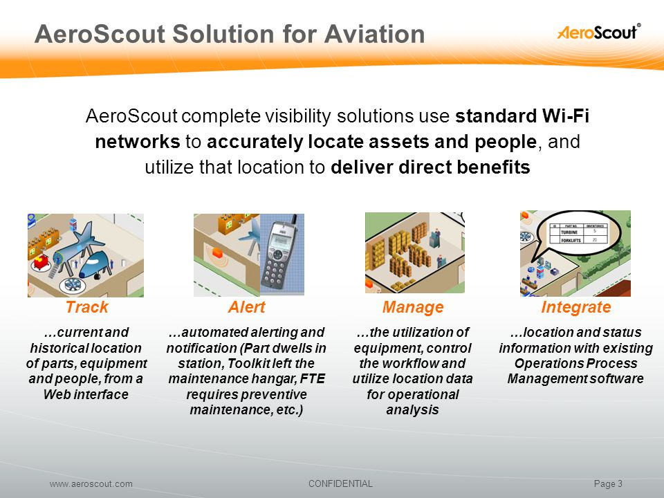 Page 3CONFIDENTIALwww.aeroscout.com AeroScout Solution for Aviation Track …current and historical location of parts, equipment and people, from a Web