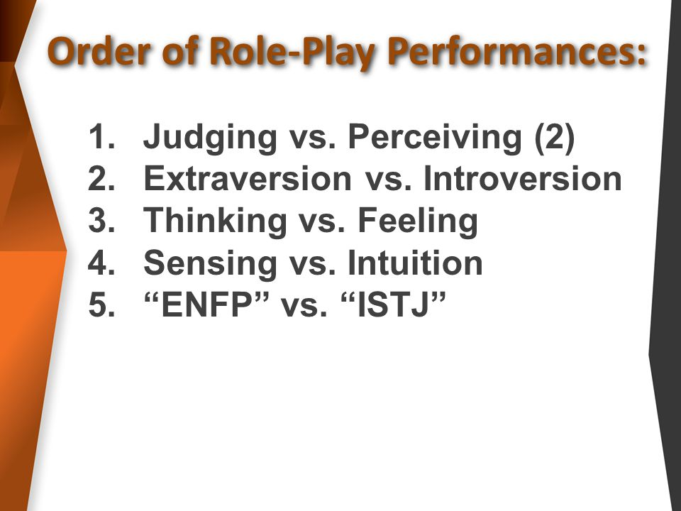 Order of Role-Play Performances: 1.Judging vs. Perceiving (2) 2.Extraversion vs.