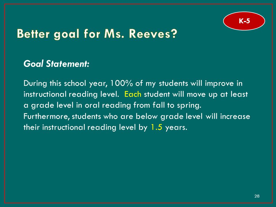 28 Goal Statement: During this school year, 100% of my students will improve in instructional reading level. Each student will move up at least a grad
