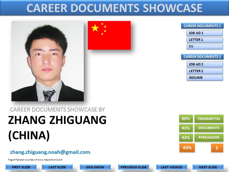 ZHANG ZHIGUANG (CHINA) CAREER DOCUMENTS SHOWCASE BY zhang.zhiguang.noah@gmail.com LAST VIEWED NEXT SLIDE LAST SLIDE FIRST SLIDE PREVIOUS SLIDE END SHOW Flag of Pakistan courtesy of www.mapsofworld.com 60% 43% CAREER DOCUMENTS 1 CAREER DOCUMENTS 2 JOB AD 1 LETTER 1 CV JOB AD 2 LETTER 2 RESUME CAREER DOCUMENTS SHOWCASE 43% TRANSMITTAL DOCUMENTS PERSUASION 49% E E