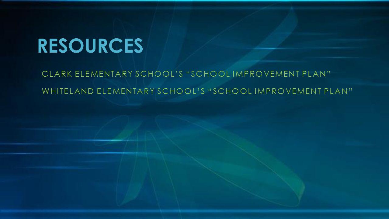 CLARK ELEMENTARY SCHOOL'S SCHOOL IMPROVEMENT PLAN WHITELAND ELEMENTARY SCHOOL'S SCHOOL IMPROVEMENT PLAN RESOURCES