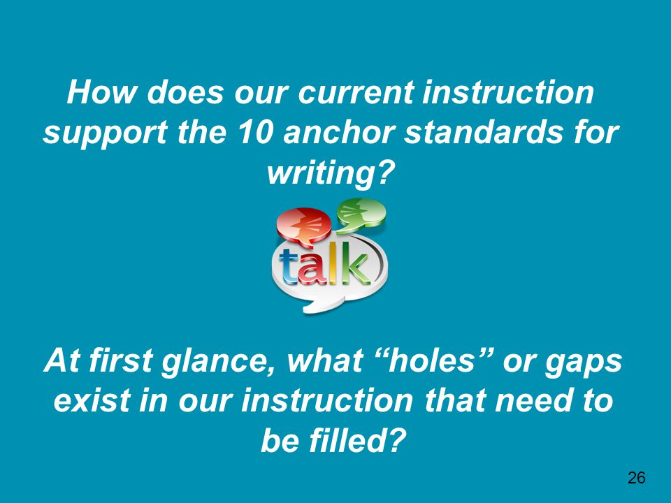 How does our current instruction support the 10 anchor standards for writing.