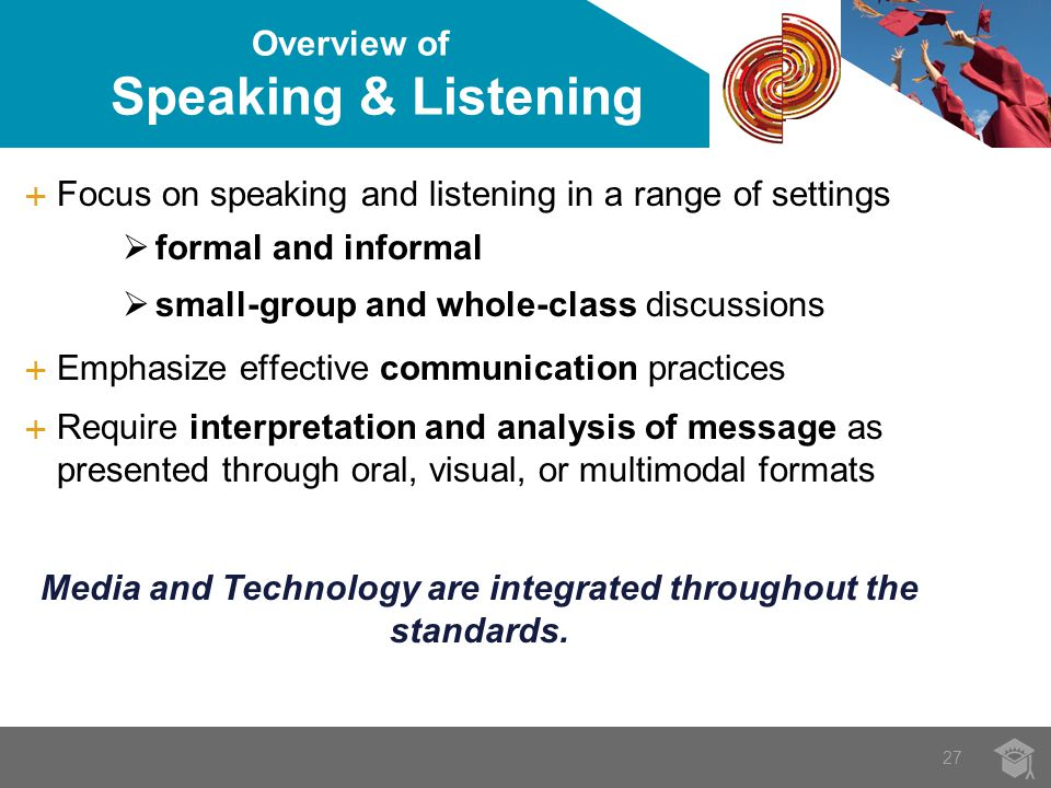 27 Overview of Speaking & Listening  Focus on speaking and listening in a range of settings  formal and informal  small-group and whole-class discussions  Emphasize effective communication practices  Require interpretation and analysis of message as presented through oral, visual, or multimodal formats Media and Technology are integrated throughout the standards.
