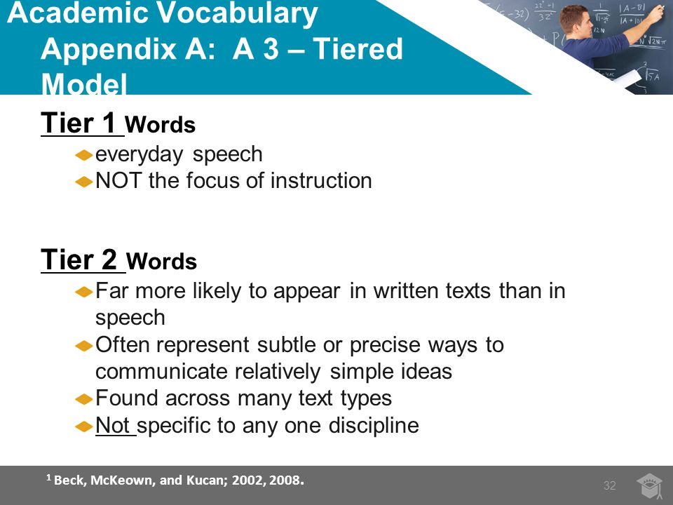 Academic Vocabulary Appendix A: A 3 – Tiered Model Tier 1 Words everyday speech NOT the focus of instruction Tier 2 Words Far more likely to appear in written texts than in speech Often represent subtle or precise ways to communicate relatively simple ideas Found across many text types Not specific to any one discipline 1 Beck, McKeown, and Kucan; 2002, 2008.