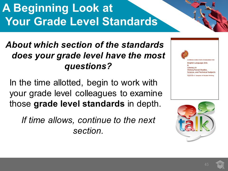 45 About which section of the standards does your grade level have the most questions.