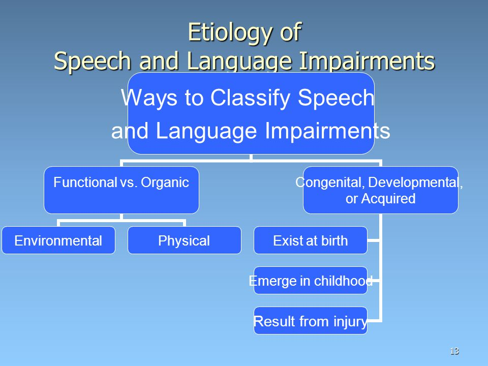 13 Etiology of Speech and Language Impairments Ways to Classify Speech and Language Impairments Functional vs.