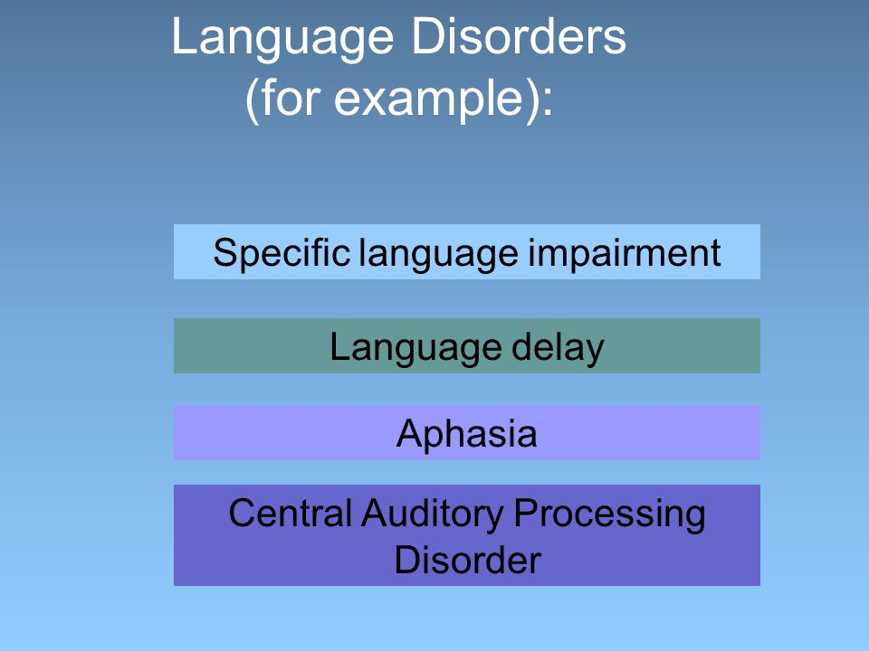 Language Disorders (for example): Central Auditory Processing Disorder Specific language impairment Language delay Aphasia