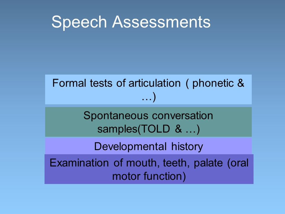 Speech Assessments Formal tests of articulation ( phonetic & …) Spontaneous conversation samples(TOLD & …) Developmental history Examination of mouth, teeth, palate (oral motor function)
