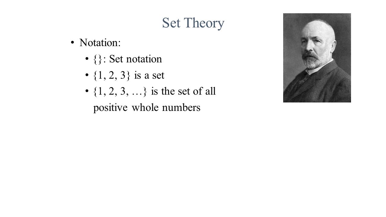 Notation: {}: Set notation {1, 2, 3} is a set {1, 2, 3, …} is the set of all positive whole numbers
