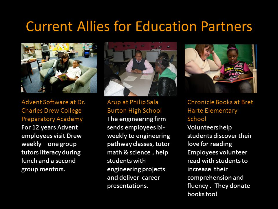 Current Allies for Education Partners Advent Software at Dr.