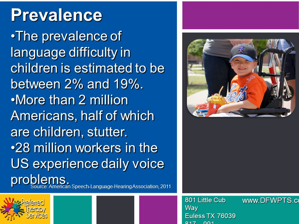 The prevalence of language difficulty in children is estimated to be between 2% and 19%.The prevalence of language difficulty in children is estimated to be between 2% and 19%.