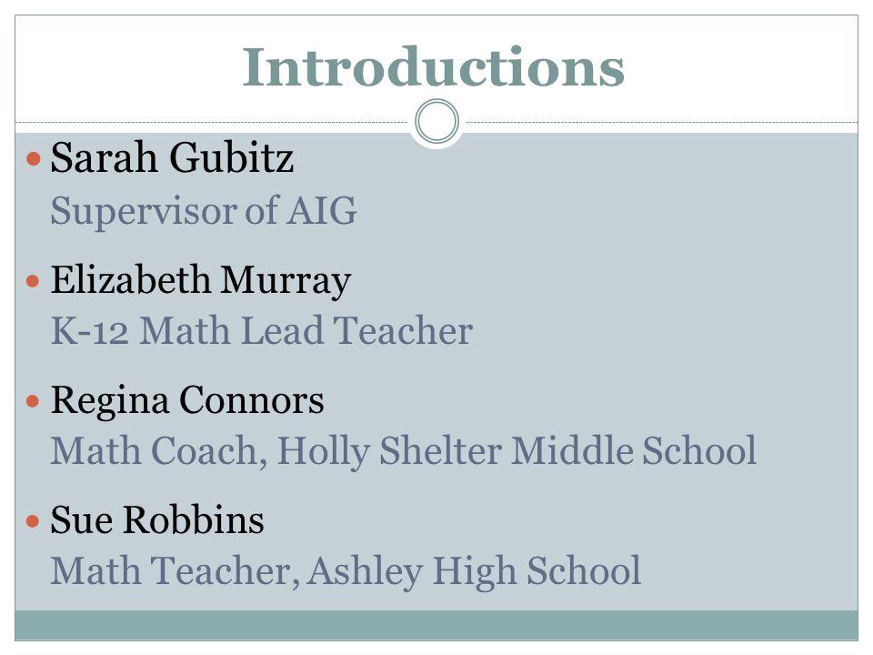 Introductions Sarah Gubitz Supervisor of AIG Elizabeth Murray K-12 Math Lead Teacher Regina Connors Math Coach, Holly Shelter Middle School Sue Robbins Math Teacher, Ashley High School