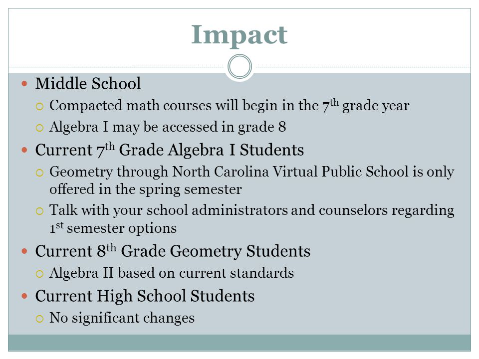 Impact Middle School  Compacted math courses will begin in the 7 th grade year  Algebra I may be accessed in grade 8 Current 7 th Grade Algebra I Students  Geometry through North Carolina Virtual Public School is only offered in the spring semester  Talk with your school administrators and counselors regarding 1 st semester options Current 8 th Grade Geometry Students  Algebra II based on current standards Current High School Students  No significant changes