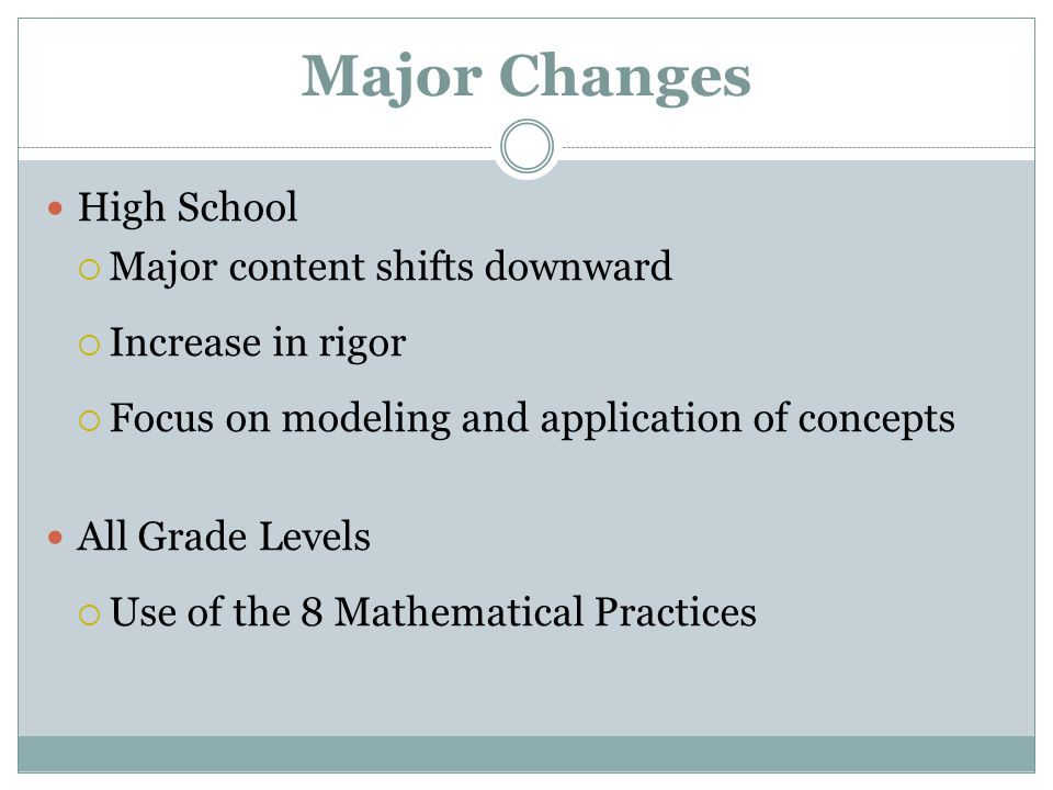 Major Changes High School  Major content shifts downward  Increase in rigor  Focus on modeling and application of concepts All Grade Levels  Use of the 8 Mathematical Practices