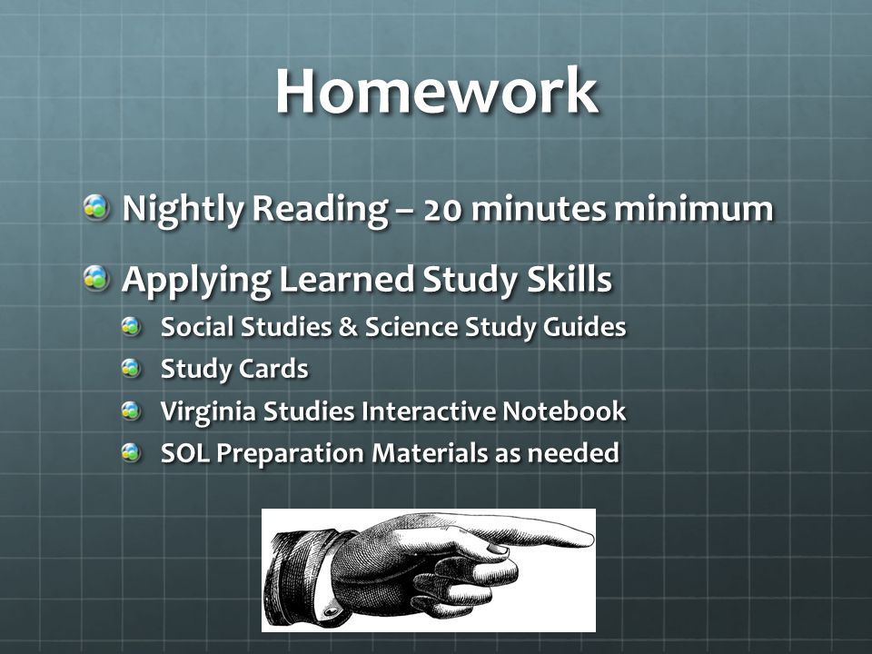 Homework Nightly Reading – 20 minutes minimum Applying Learned Study Skills Social Studies & Science Study Guides Study Cards Virginia Studies Interac