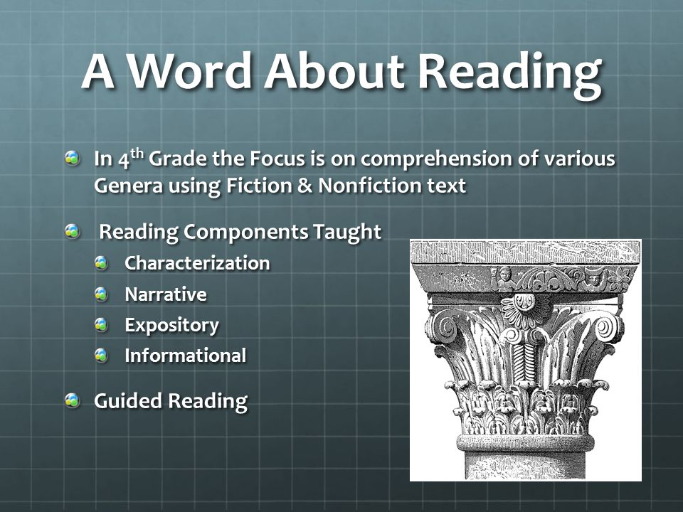 A Word About Reading In 4 th Grade the Focus is on comprehension of various Genera using Fiction & Nonfiction text Reading Components Taught Reading Components TaughtCharacterizationNarrativeExpositoryInformational Guided Reading