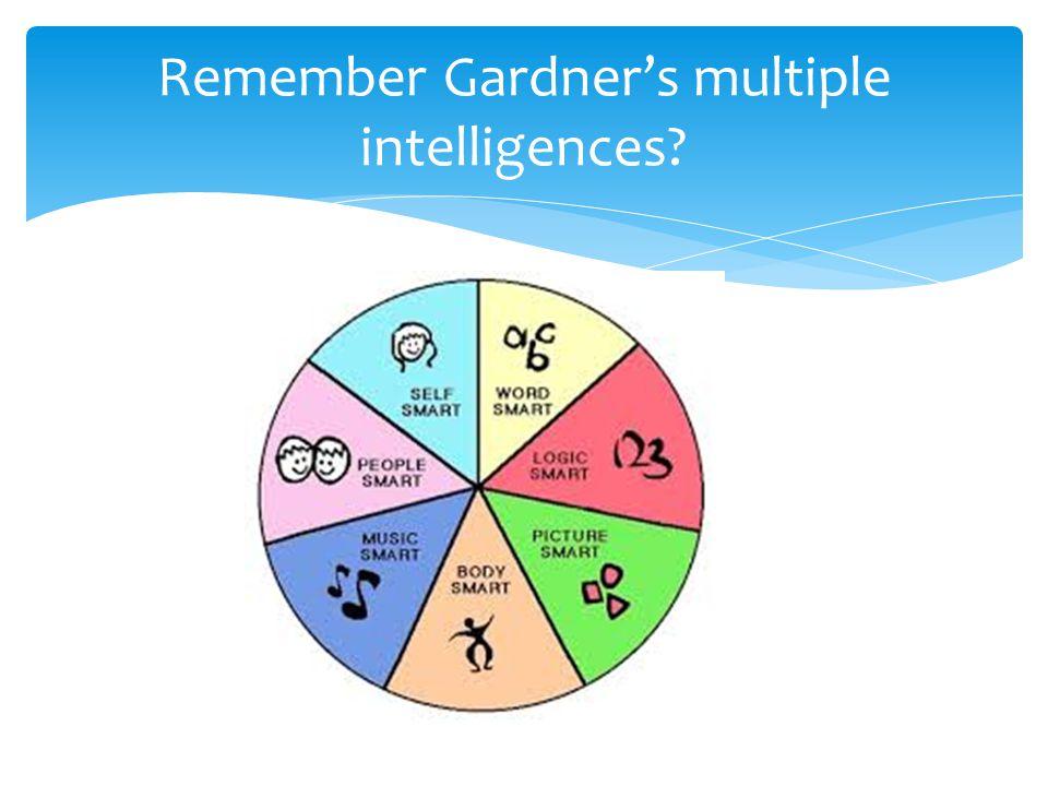 Remember Gardner's multiple intelligences
