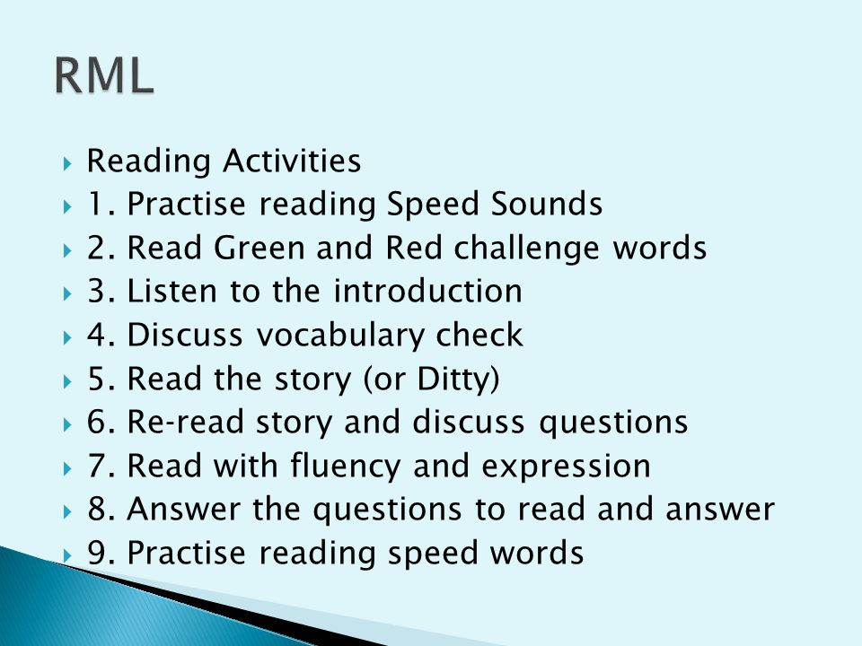  Reading Activities  1.Practise reading Speed Sounds  2.