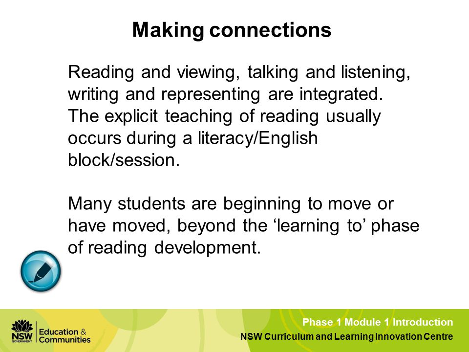 Phase 1 Module 1 Introduction NSW Curriculum and Learning Innovation Centre Making connections Reading and viewing, talking and listening, writing and representing are integrated.