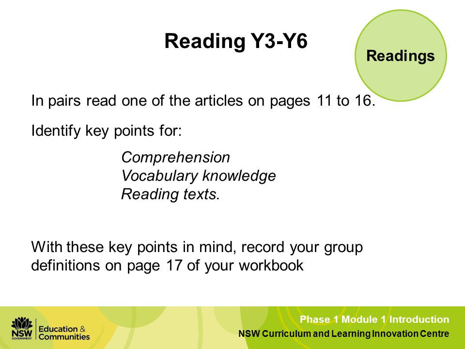 Phase 1 Module 1 Introduction NSW Curriculum and Learning Innovation Centre Reading Y3-Y6 In pairs read one of the articles on pages 11 to 16.