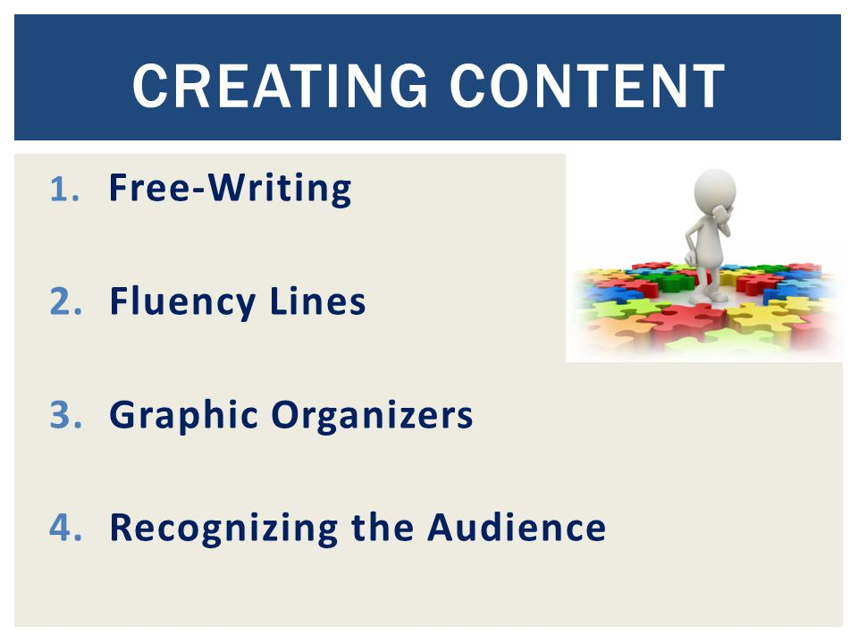 1. Free-Writing 2. Fluency Lines 3. Graphic Organizers 4. Recognizing the Audience CREATING CONTENT