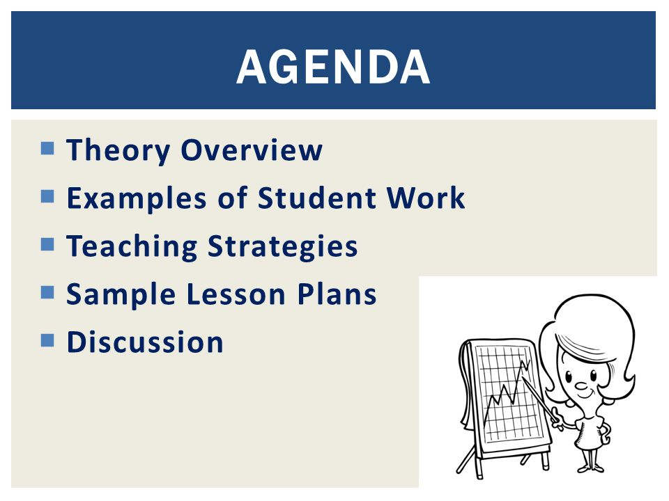 Theory Overview  Examples of Student Work  Teaching Strategies  Sample Lesson Plans  Discussion AGENDA