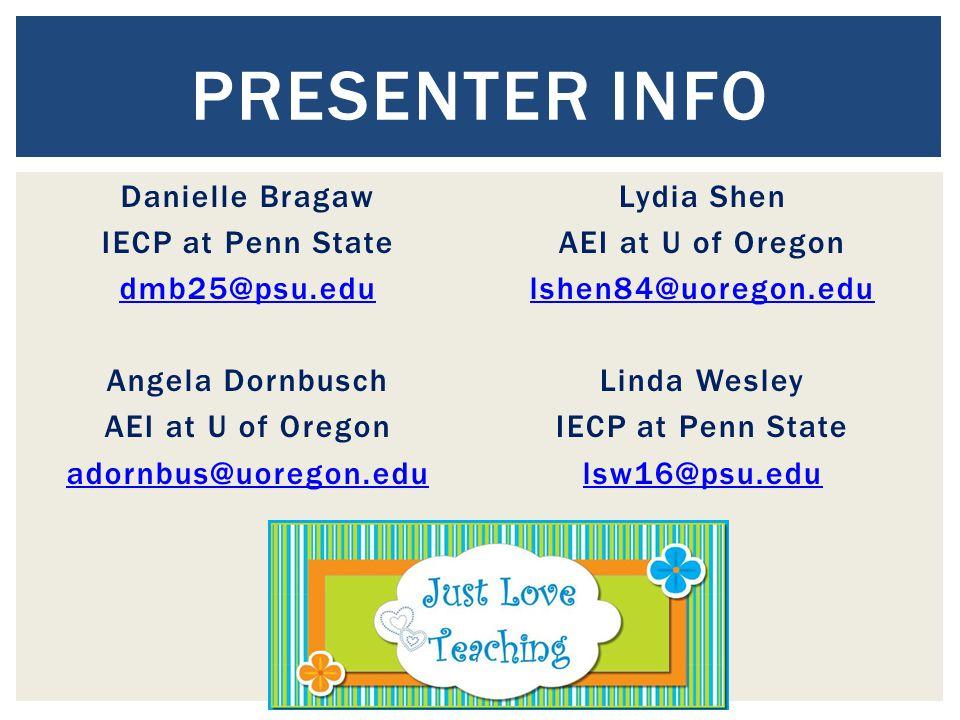 Danielle Bragaw IECP at Penn State dmb25@psu.edu Angela Dornbusch AEI at U of Oregon adornbus@uoregon.edu Lydia Shen AEI at U of Oregon lshen84@uorego
