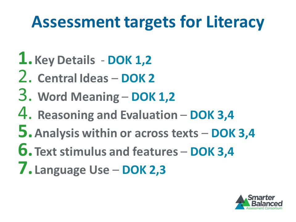 Assessment targets for Literacy 1. Key Details - DOK 1,2 2.