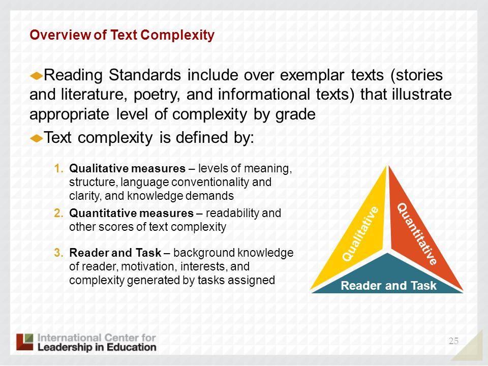 25 Overview of Text Complexity Reading Standards include over exemplar texts (stories and literature, poetry, and informational texts) that illustrate appropriate level of complexity by grade Text complexity is defined by: Qualitative 1.Qualitative measures – levels of meaning, structure, language conventionality and clarity, and knowledge demands Quantitative 2.Quantitative measures – readability and other scores of text complexity Reader and Task 3.Reader and Task – background knowledge of reader, motivation, interests, and complexity generated by tasks assigned