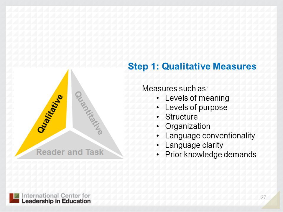 27 Step 1: Qualitative Measures Measures such as: Levels of meaning Levels of purpose Structure Organization Language conventionality Language clarity Prior knowledge demands
