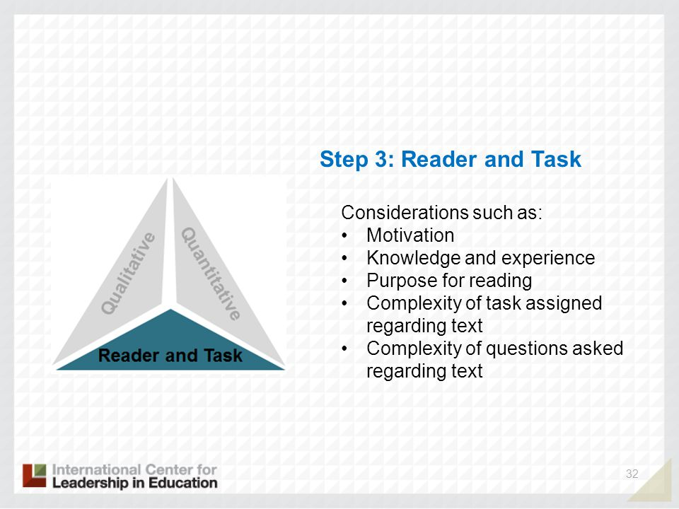 32 Step 3: Reader and Task Considerations such as: Motivation Knowledge and experience Purpose for reading Complexity of task assigned regarding text Complexity of questions asked regarding text