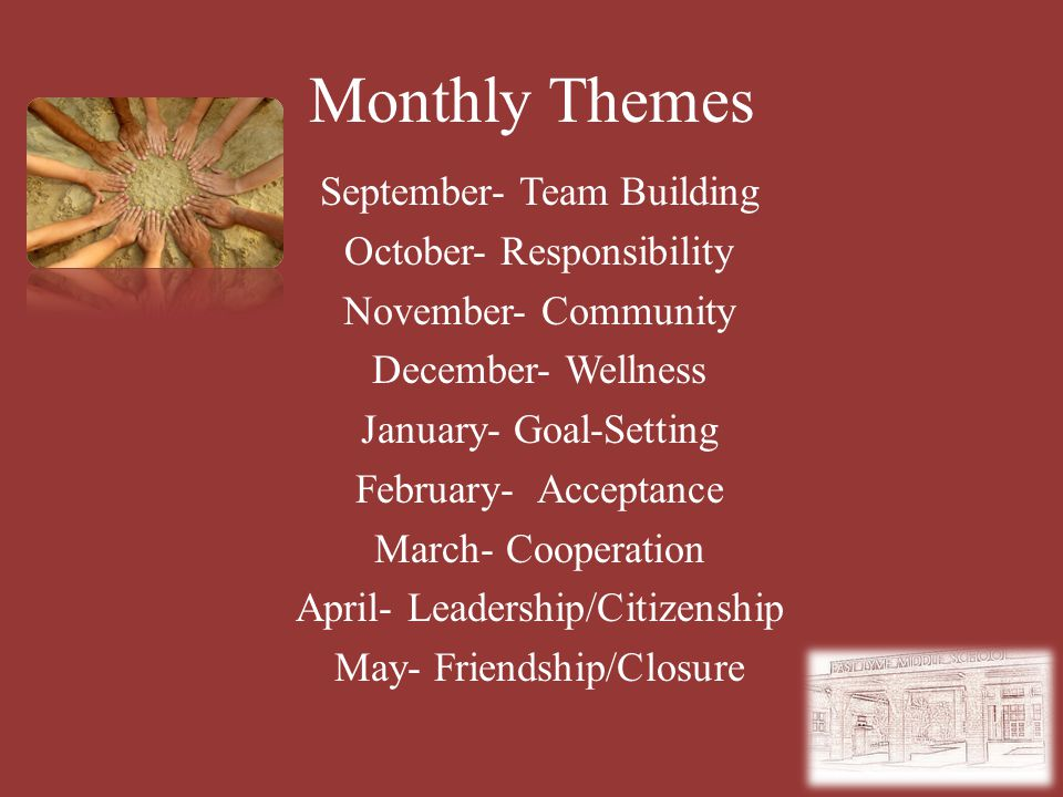 Monthly Themes September- Team Building October- Responsibility November- Community December- Wellness January- Goal-Setting February- Acceptance March- Cooperation April- Leadership/Citizenship May- Friendship/Closure
