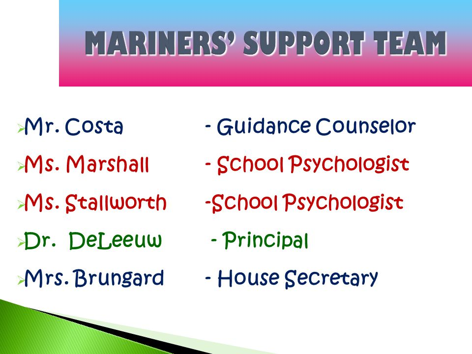 MARINERS' SUPPORT TEAM  Mr. Costa- Guidance Counselor  Ms.